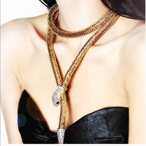 Gold Crystal Snake Long Pendant Necklace